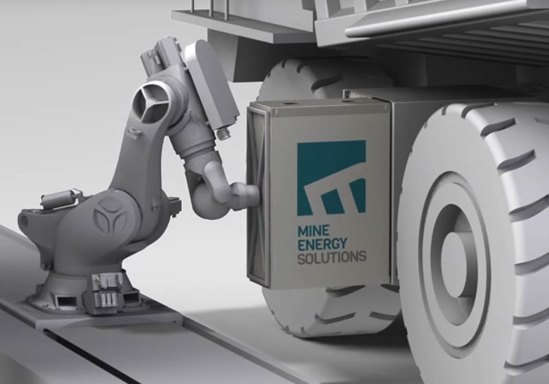 Robotic mine truck refuelling arm