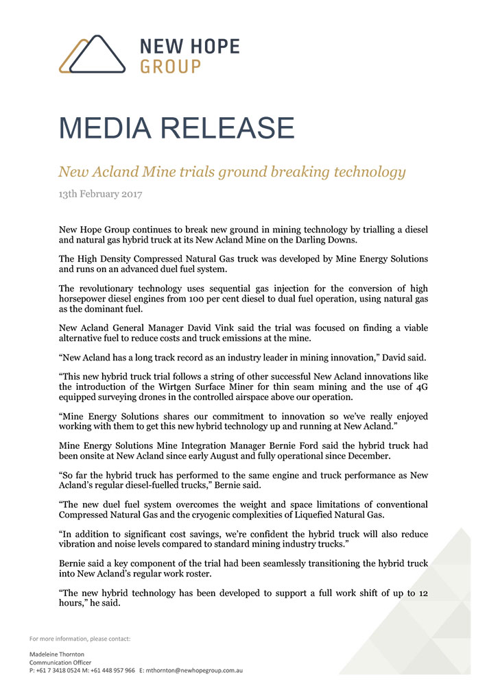 Media Release: New Acland Mine trials ground breaking technology